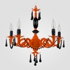 Faith Neon Orange Black Crystal Chandelier