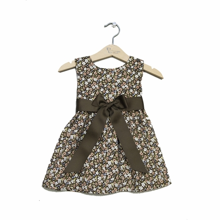 Fall Floral Corduroy Dress with Brown Sash