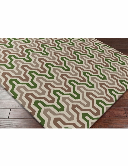 Fallon Flat Weave Rug in Mocha and Olive