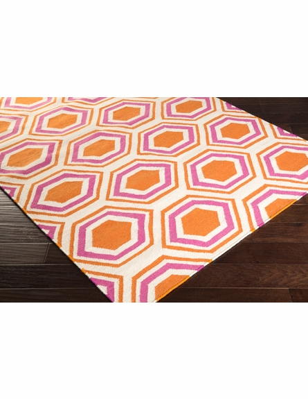 Fallon Honeycomb Flat Weave Rug in Orange