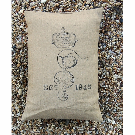 Family Crest Burlap Pillow