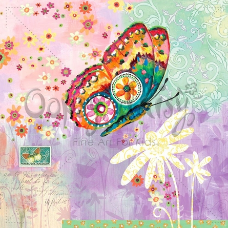 Fanciful Flight Purple Canvas Wall Art