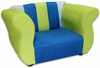 Fancy Chair in Blue and Green Microsuede