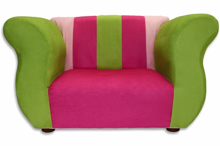 Fancy Chair in Pink and Green Microsuede