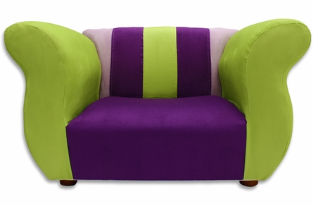 Fancy Chair in Purple and Green Microsuede