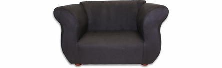 Fancy Sofa and Chair Set in Black Microsuede