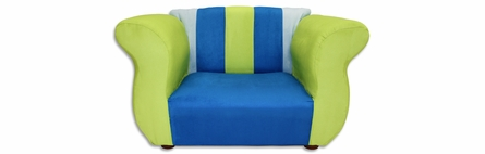 Fancy Sofa and Chair Set in Blue and Green Microsuede