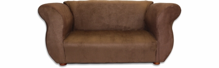 Fancy Sofa and Chair Set in Brown Microsuede