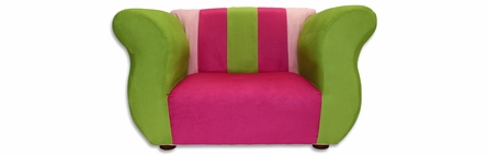 Fancy Sofa and Chair Set in Pink and Green Microsuede