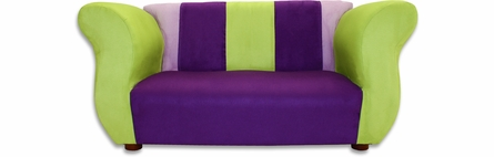 Fancy Sofa and Chair  Set in Purple and Green Microsuede