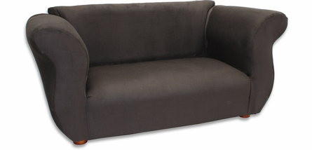 Fancy Sofa in Black Microsuede