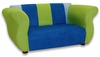 Fancy Sofa in Blue and Green Microsuede
