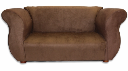 Fancy Sofa in Brown Microsuede