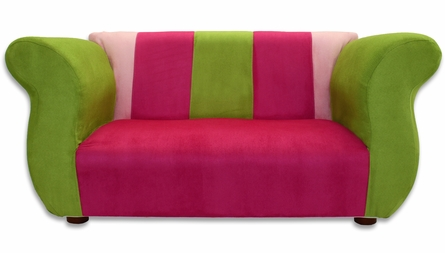 Fancy Sofa in Pink and Green Microsuede