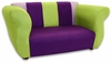 Fancy Sofa in Purple and Green Microsuede
