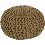 Fargo Cable Knit Pouf in Olive