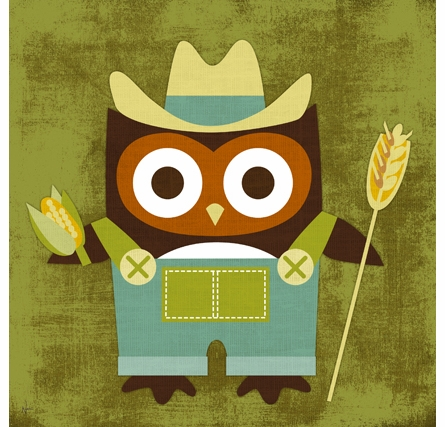 Farmer Owl Canvas Reproduction