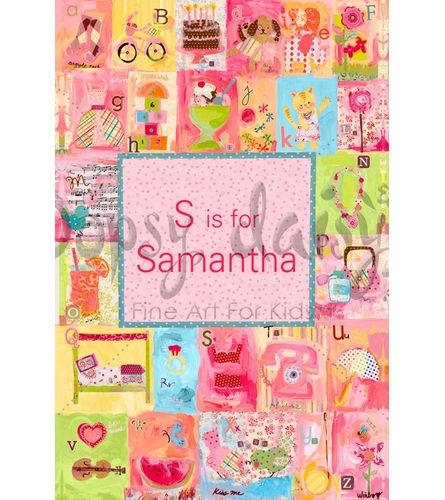 Favorite Things Alphabet - Personalized Girl Canvas Wall Art