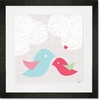 Feathers and Hearts Framed Art Print