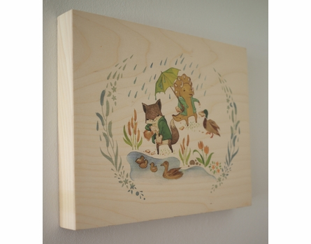 Feeding the Ducks Wood Panel Art Print