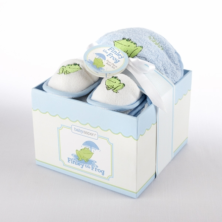 Finley the Frog Four-Piece Hatbox Bath Time Gift Set