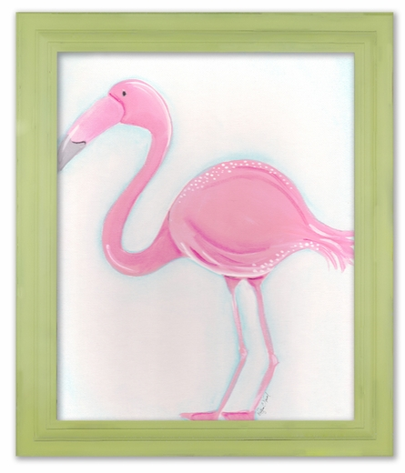 Fiona the Flamingo Framed Canvas Reproduction