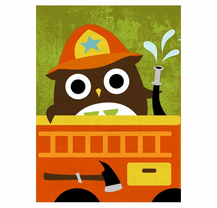 Firefighter Owl Canvas Reproduction