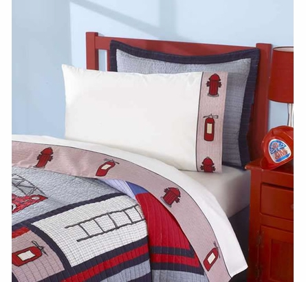 Fireman Quilt with Pillow Sham