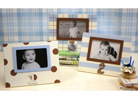 First Birthday Picture Frame in Blue & Chocolate