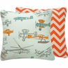 First in Flight Orange Throw Pillow