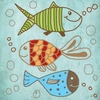 Fish on Blue Canvas Wall Art