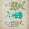 Fish on Cream Canvas Wall Art