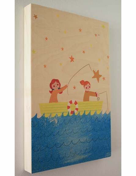 Fishing for Stars Wood Panel Art Print