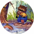 Fishing Raccoon Wall Clock