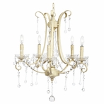 Five Arm Colleen Ivory Chandelier with Glass Center and Crystals