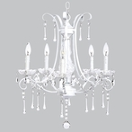 Five Arm Colleen White Chandelier with Glass Center and Crystals