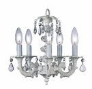 Five Arm Glass Ball White Chandelier
