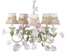Five Arm Leaf & Flower Chandelier with Green Sash Shades