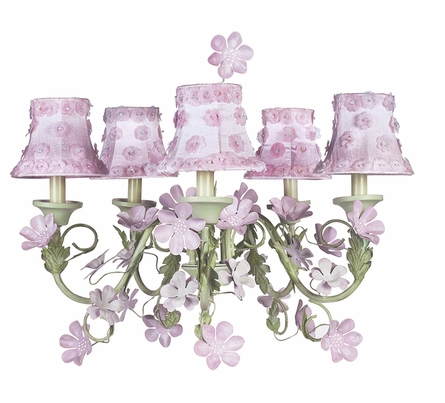 Five Arm Pink and Green Leaf and Flower Chandelier
