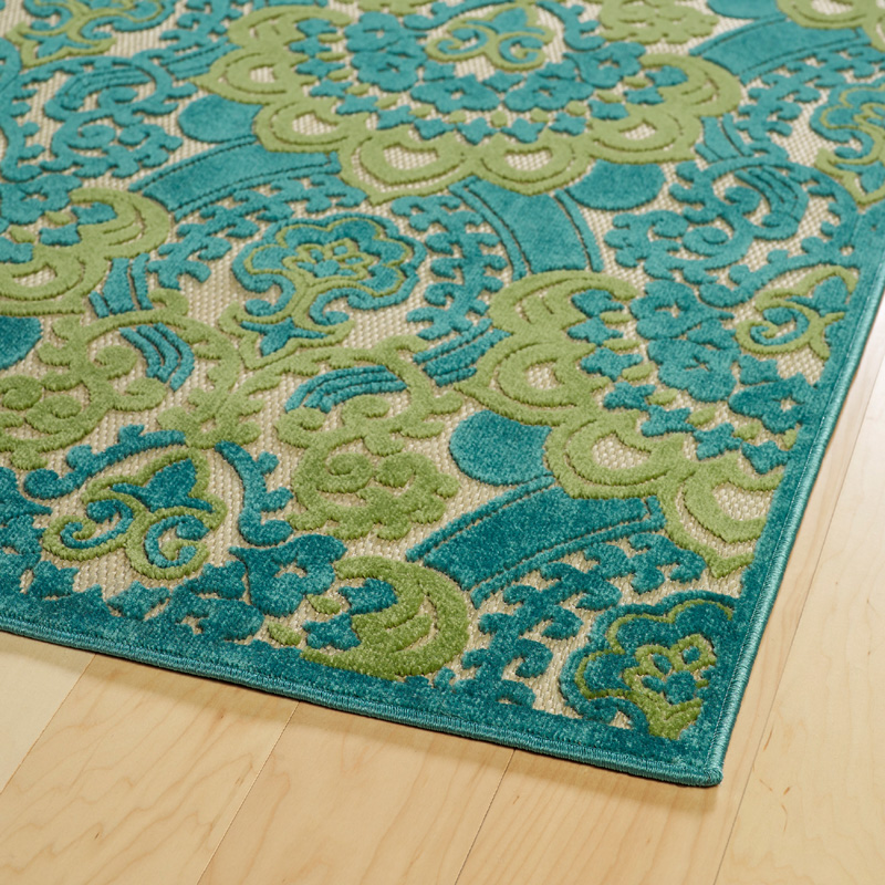 Five Seasons Lace Rug In Light Blue And Green