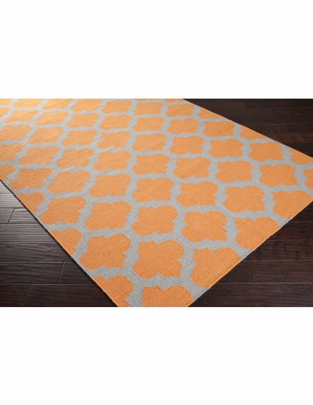 Flint Gray and Pumpkin Trellis Frontier Rug