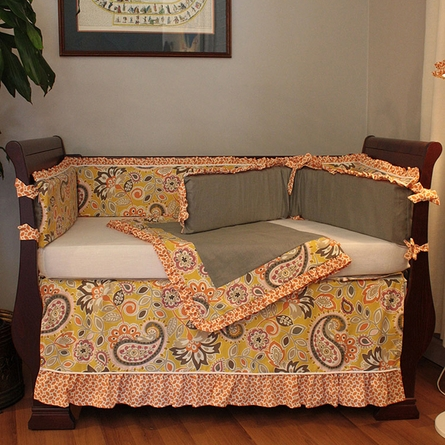 Flirty Flowers Yellow Crib Bedding