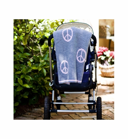 Floating Peace Sign Stroller Blanket