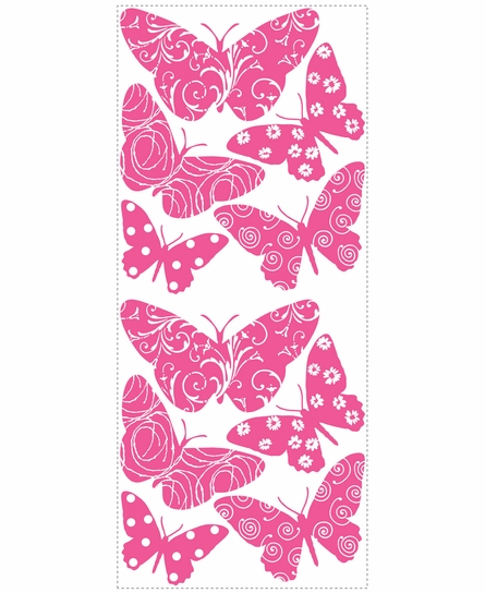 Flocked Butterfly Peel & Stick Wall Decals