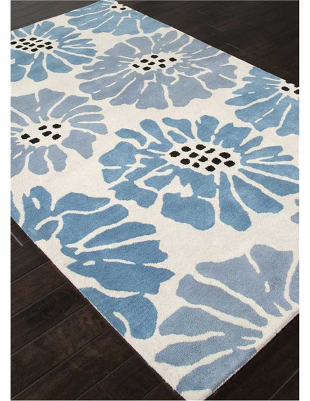Flora Rug in White and Ocean Blue