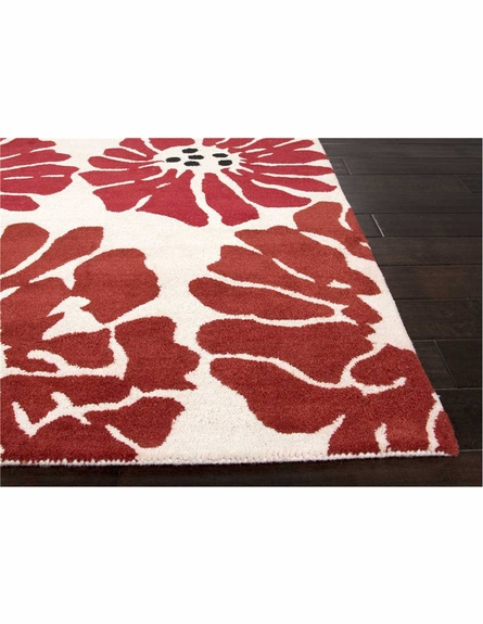 Flora Rug in White and Velvet Red