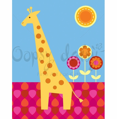 Floral Giraffe Canvas Wall Art