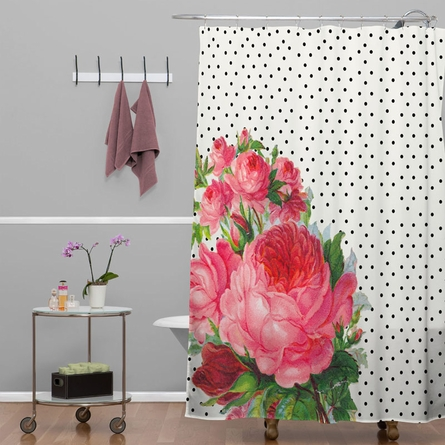 On Sale Floral Polka Dots Shower Curtain