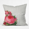 Floral Polka Dots Throw Pillow