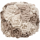 Floral Pouf in Parchment and Cobble Stone